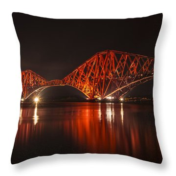 Throw Pillow featuring the photograph The Forth Bridge By Night by Ross G Strachan