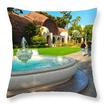 Botanical Building And Fountain At Balboa Park Throw Pillow by Claudia Ellis