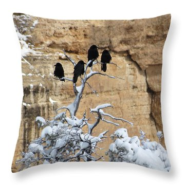 Throw Pillow featuring the photograph The Four Crows by Laurel Powell