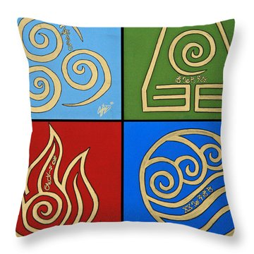 The Four Elements In Cy Lantyca Throw Pillow