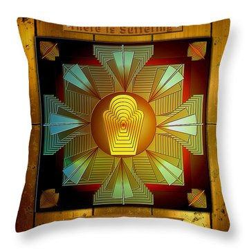Throw Pillow featuring the digital art The Four Noble Truths by Mario Carini