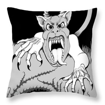 Throw Pillow featuring the digital art The Fox's Fiend  by Carol Jacobs