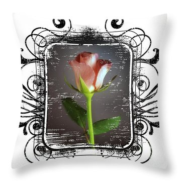 The Framed Rose Throw Pillow by Mauro Celotti