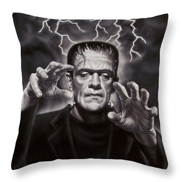 The Frankenstein Monster Throw Pillow by Dick Bobnick