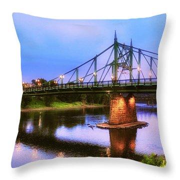 The Free Bridge Throw Pillow by Mark Miller