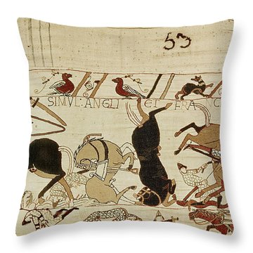 The Bayeux Tapestry Throw Pillow by French School