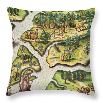 The French Arrive At Port Royal Throw Pillow by Jacques Le Moyne