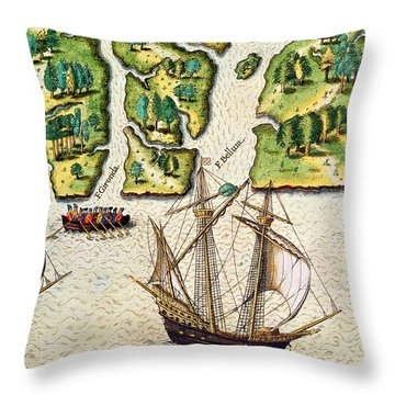 The French Discvoer Six More Rivers Throw Pillow by Jacques Le Moyne