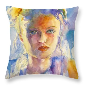 Throw Pillow featuring the painting The French Girl by P Maure Bausch