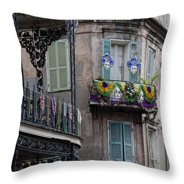 The French Quarter During Mardi Gras Throw Pillow by Mountain Dreams