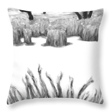 The Freshness Of Winter Black And White Throw Pillow