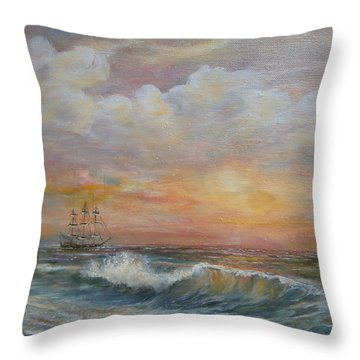 Sunlit  Frigate Throw Pillow