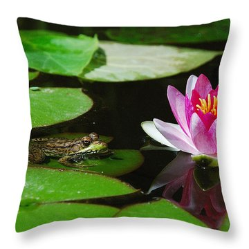 Throw Pillow featuring the photograph The Frog And The Lily by Janice Adomeit