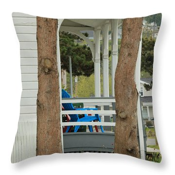 Throw Pillow featuring the photograph The Front Porch by E Faithe Lester