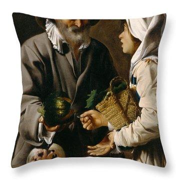 The Fruit Vendor Throw Pillow by Pensionante de Saraceni