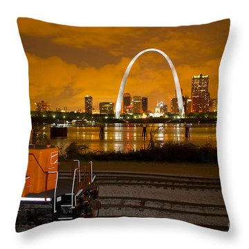 The Ftrl Railway With St Louis In The Background Throw Pillow by Garry McMichael