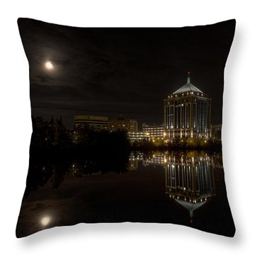 The Full Moon Over The Dudley Tower Throw Pillow