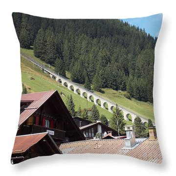 The Funicular In Murren Throw Pillow