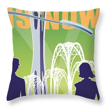 The Future Is Now - Green Throw Pillow