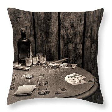 The Gambling Table Throw Pillow by Olivier Le Queinec