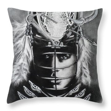 The Game Of Lacrosse  Throw Pillow by Carla Carson