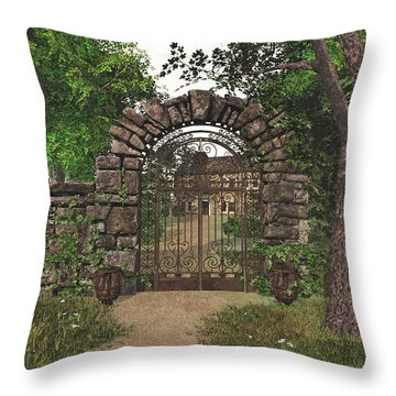 Throw Pillow featuring the digital art The Garden Gate by Jayne Wilson