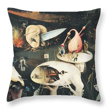 The Garden Of Earthly Delights Hell, Right Wing Of Triptych, C.1500 Oil On Panel See 322, 3425 Throw Pillow