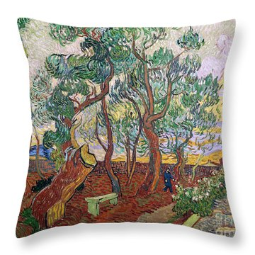 The Garden Of St Pauls Hospital At St. Remy Throw Pillow by Vincent Van Gogh