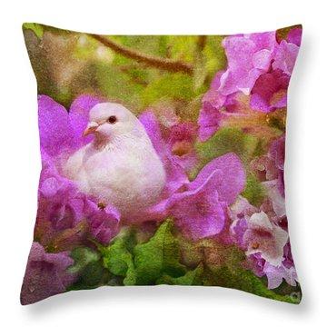 The Garden Of White Dove Throw Pillow by Olga Hamilton