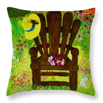 The Gardener's Chair Throw Pillow by Celeste Manning