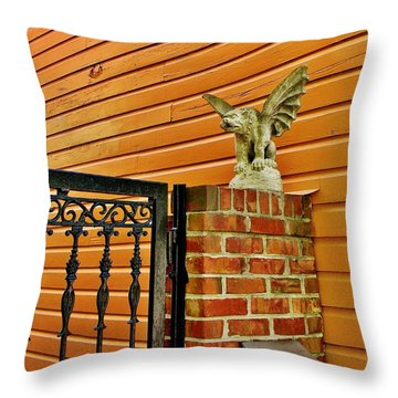 The Gargoyle At The Gate Throw Pillow by Jean Goodwin Brooks