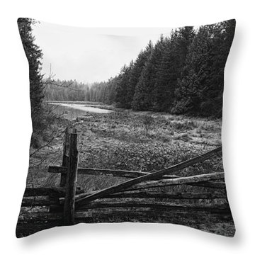 The Gate In Black And White Throw Pillow