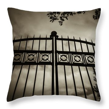 Throw Pillow featuring the photograph The Gate In Sepia by Steven Milner
