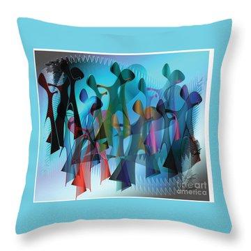 The Gathering Throw Pillow by Iris Gelbart