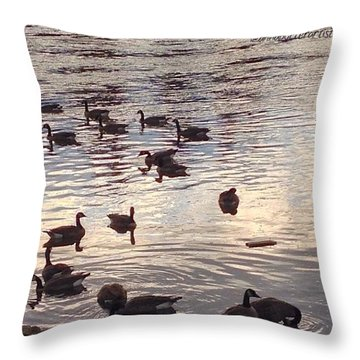 The Gathering - Willamette River Geese Throw Pillow