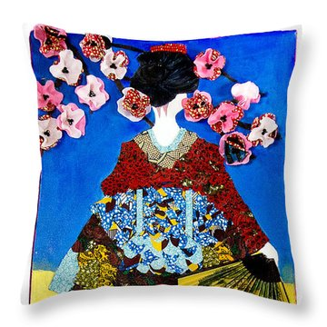 Throw Pillow featuring the tapestry - textile The Geisha by Apanaki Temitayo M