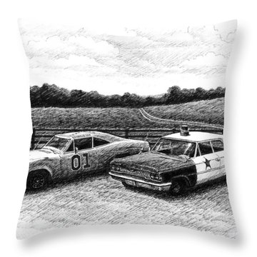 The General Lee And Barney Fife's Police Car Throw Pillow