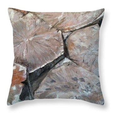 Throw Pillow featuring the painting The Giant's Causeway by Brenda Brown