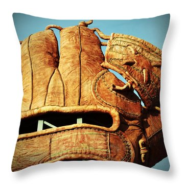 The Giants Glove Throw Pillow by Holly Blunkall