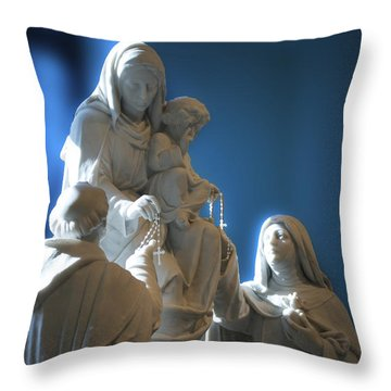 The Gift Of The Rosaries Statue Throw Pillow by Thomas Woolworth
