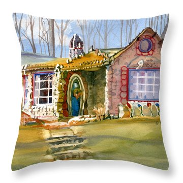 The Gingerbread House Throw Pillow