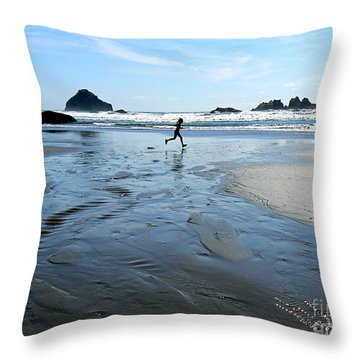 the Girl and the Ocean Throw Pillow by Dona  Dugay