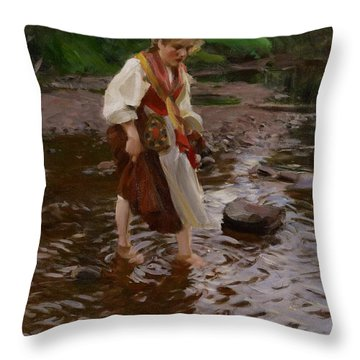 The Girl From Alvdalen Throw Pillow by Anders Leonard Zorn