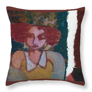 Throw Pillow featuring the mixed media The Girl Waits by Catherine Redmayne