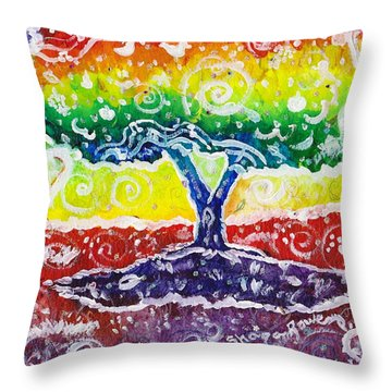 Throw Pillow featuring the painting The Giving Tree by Shana Rowe Jackson