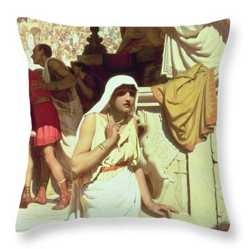 The Gladiators Wife Throw Pillow by Edmund Blair Leighton