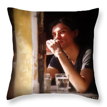 The Glass Of Water Throw Pillow by Miriam Danar