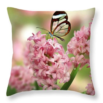 The Glasswing Throw Pillow by Morag Bates