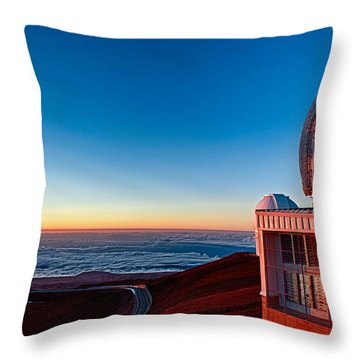 Throw Pillow featuring the photograph The Glow Of The Warm Sunset Reflecting Off Of The Gemini 8.1m Op by Jim Thompson