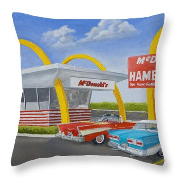 The Golden Age Of The Golden Arches Throw Pillow by Jerry McElroy
